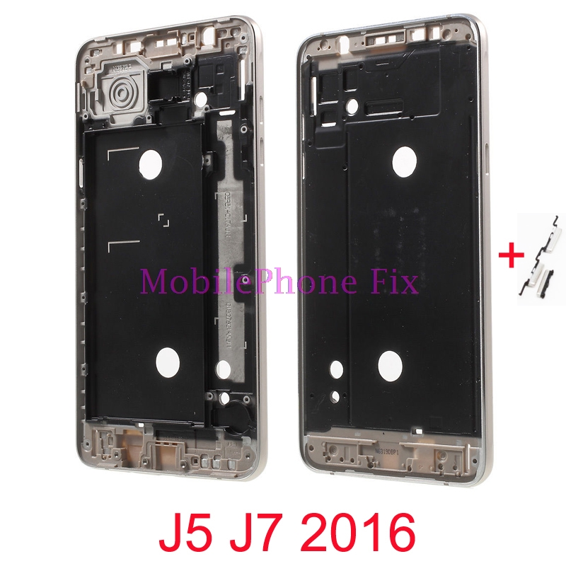 LCD Front Frame Bezel Housing For Samsung Galaxy J5 J7 2016 J510 J710 Outer Middle Frame+Power Volume Side Button