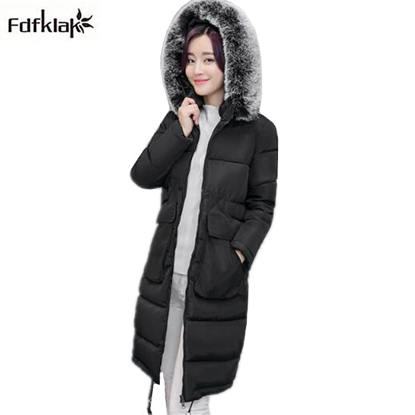 Womens long winter coat plus size fur collar hooded jacket women thick warm parkas for women snow outerwear cotton parka M-4XL women winter jacket 2017 new fashion ladies long cotton coat thick warm parkas female outerwear hooded fur collar plus size 5xl