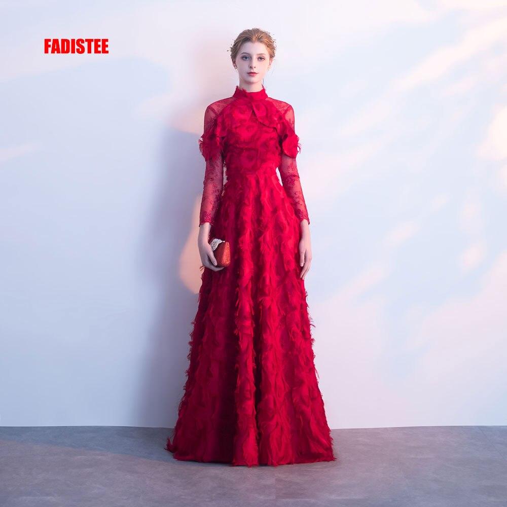 FADISTEE nouveauté sexy soirée robes Vestido de Festa manches complètes Robe De bal Robe de soirée dentelle plumes