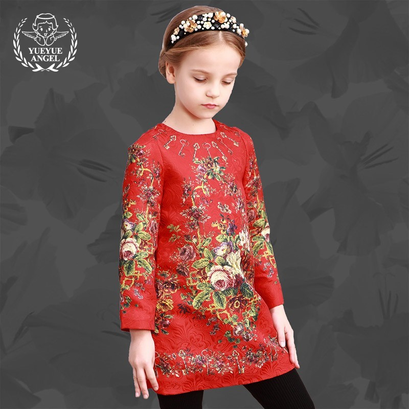 2018 Spring Kids Fashion Long Sleeve Dress O-neck Cotton Floral Sukienka Short A-Line Chinese Style Child's Dresses For Girls ol style scoop neck long sleeve color block bodycon midi dress for women