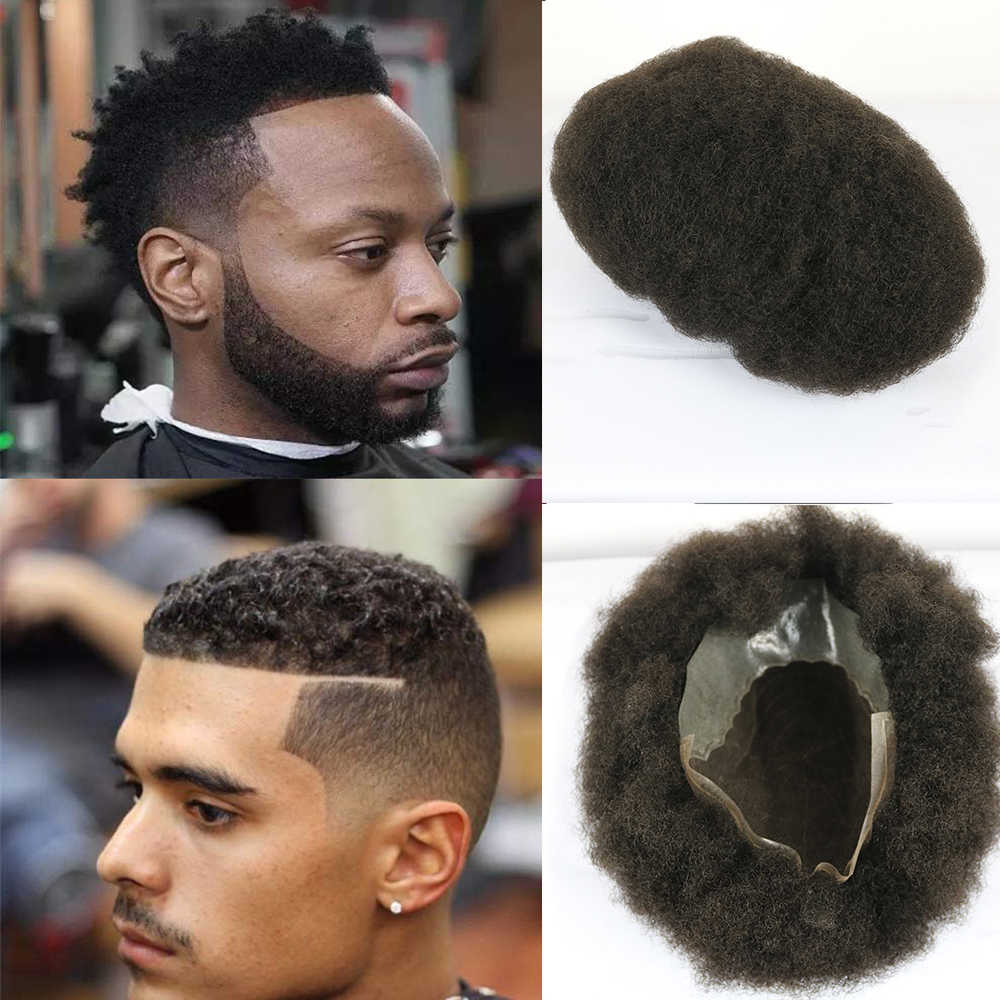 SimBeauty 6mm Afro Toupee Swiss Lace with Skin Man System Afro Curl American African Curl Men's Hairpieces for Black Men
