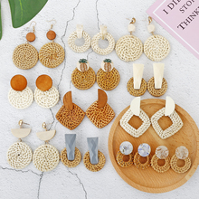 Multiple 2019 Korea Handmade Bamboo Braid Pendent Drop Earrings New Fashion Rattan Vine Knit Long For Women Girl