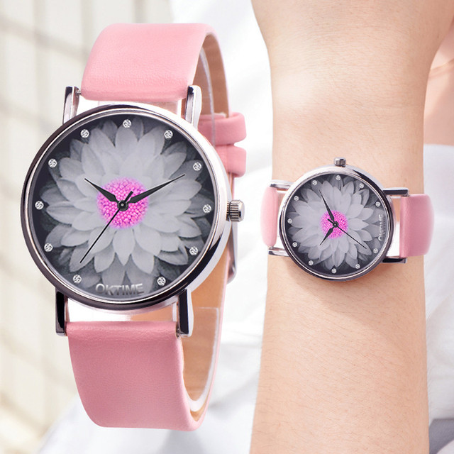 Womens Flower Casual Leather Analog Quartz Watch Sexy Representative of the fash