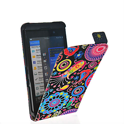 China produced exquisite flower style leather FLIP pouch case cover FOR Blackberry Z10 London, Surfboard, L-Series, L10 505