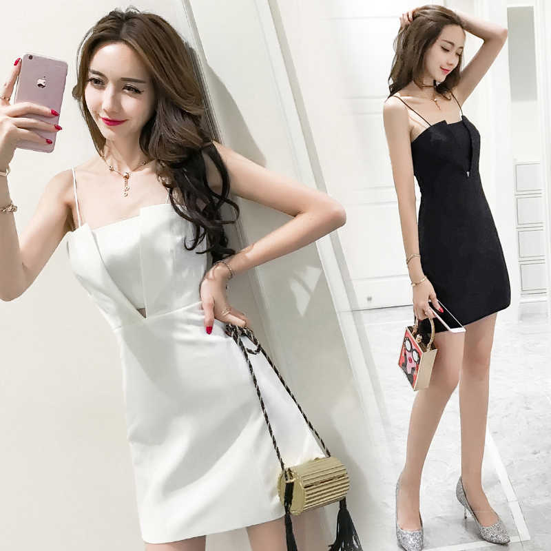 Bọc Ăn Mặc Sukienki Đen Dress Rắn Không Tay Mùa Hè Sundresse Backless Đảng Dress Thanh Lịch Mini Dress Trắng SunDress