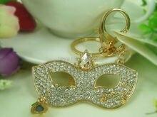 KC129 Mask Goggles Keychain Cute Keyring Rhinestone Crystal Charm Pendant Key Bag Chain Gift New Fashion Free Shipping