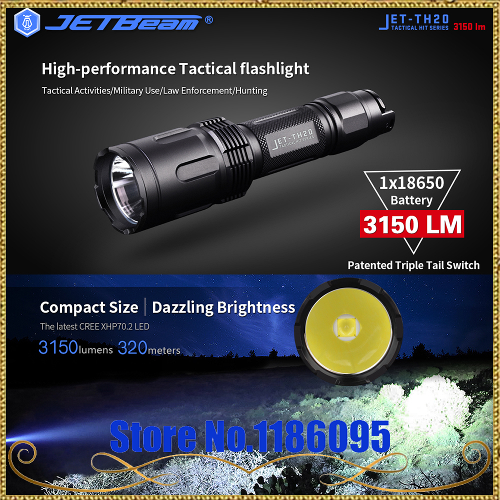 Newest  Original JETBeam TH20 Tactical Flashlight CREE XHP70.2 LED 3450Lumen with 18650 Li-ion Battery scuba dive light