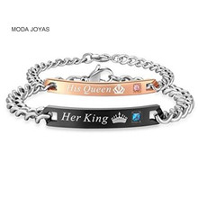 "moda joyas Unique Gift for Lover ""His Queen""""Her King "" Couple Bracelets Stainless Steel Bracelets For Women Men Jewelry"
