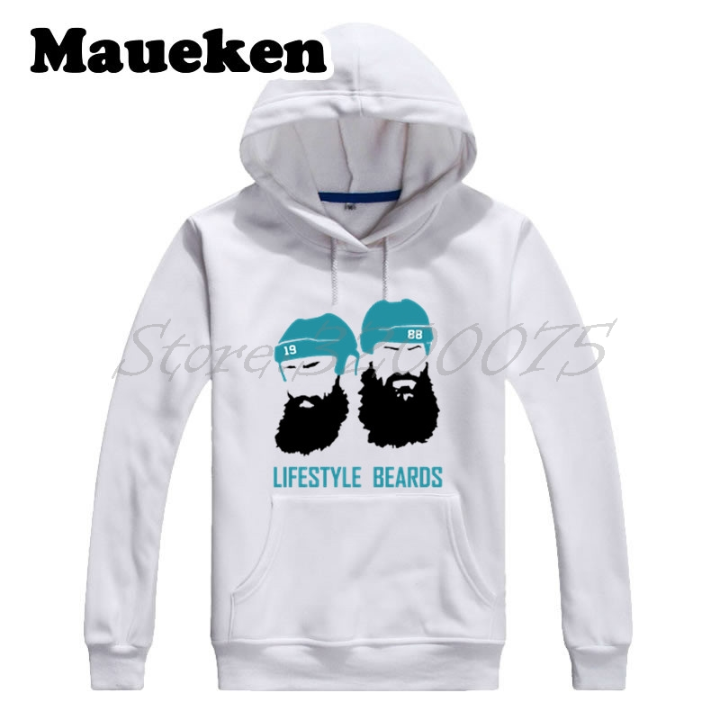 Men Hoodies Lifestyle Beards Joe Thornton 19 Brent Burns 88 San Jose Sweatshirts Hooded Thick for fans Winter W17120302