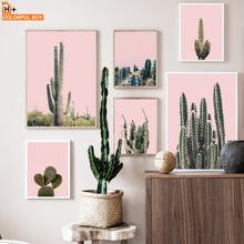 Pink Green Cactus Wall Art Canvas Painting Desert Plant Nordic Posters And Prints Decoration Pictures For Living Room Salon