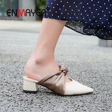 ENMAYER 2019 Genuine Leather basic women med high slippers Solid  Spring/Autumn Outside shoes size 34-39 LY2432