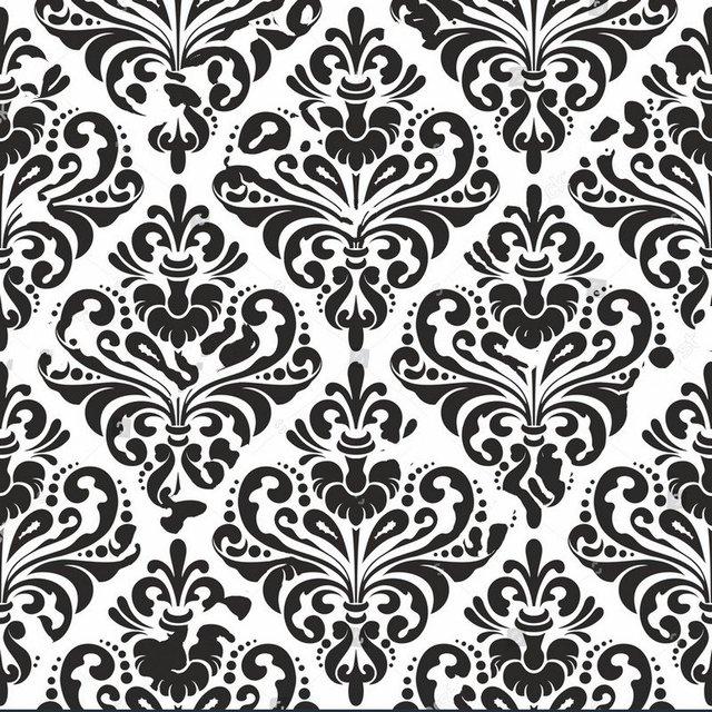 black damask Wallpaper White photo studio background Vinyl cloth