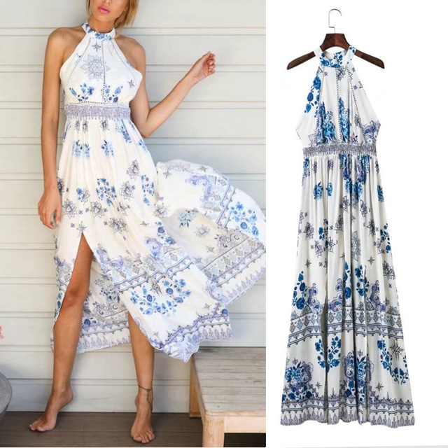 boho maxi dress elegant bohemian beach dress long blue  tunics prom women 2018 summer  may off shoulder Printed dress
