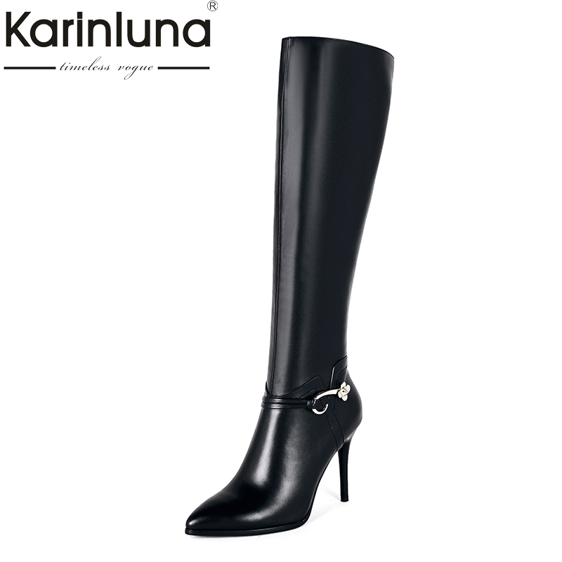 KARINLUNA 2018 Large Size 33-43 Genuine Leather Pointed Toe Winter Shoes Woman Sexy Thin High Heels Party Boots Black micro minimosd minim osd mini osd w kv team mod for racing f3 naze32 flight controller