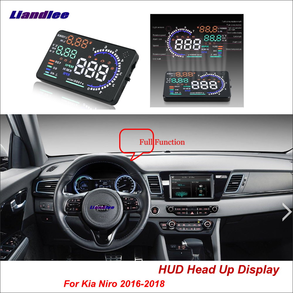 Liandlee Full Function Car HUD Head Up Display For Kia Niro 2016 2018 Safe Driving Screen OBD Speedometer Projector Windshield|Head-up Display| |  - title=