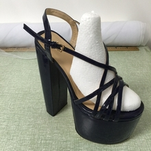 2016 Real Women Sandals Square Heels Custom Made Plus Size Buckle Strap Fashion Party Shoes Chaussure Femme Sandalias Mujer