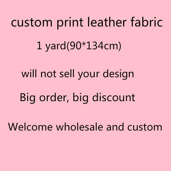 Free shipping 1 yard 90 134cm custom print vinyl leather fabric