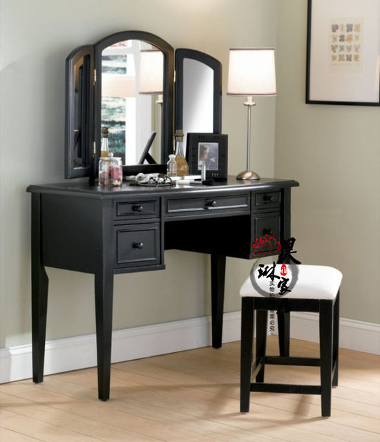 Good American   Style Solid Wood Vanity French Retro Folding Vanity Mirror Makeup  Table Black And White