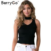 BerryGo Autumn Sexy Halter V Neck Knitted Crop Top Elegant Sleeveless Wine Red Party Tank Top