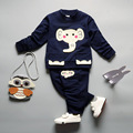 2017 children suit spring baby cartoon elephant long sleeve t-shirt+pant two pieces boys girls clothing set