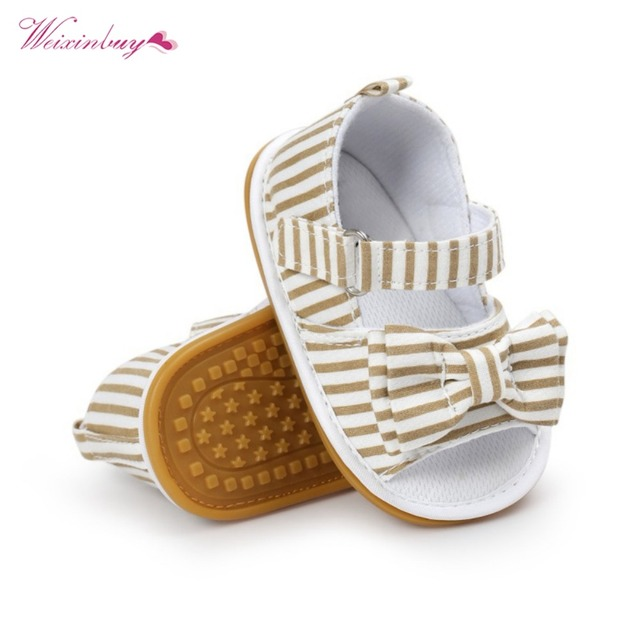 WEIXINBUY Girls Summer Cute Tartan Princess Style Bowknot Breathable Non-slip Soft Bottom Cack First Walkers 0-18M