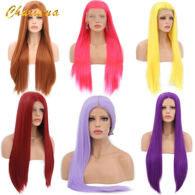 カリスマロングブロンドコスプレかつら絹のようなストレートの合成レースフロントウィッグ女性 10 色ピンク黒グレーで髪
