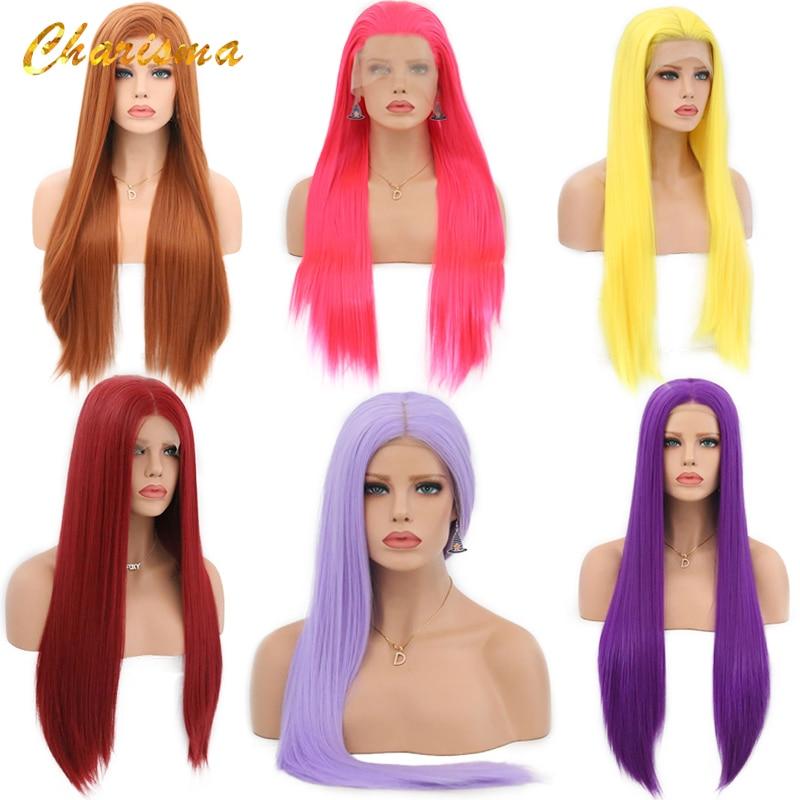 Carisma longo loira cosplay peruca de seda em linha reta perucas sintéticas da parte dianteira do laço para as mulheres 10 cor rosa preto cinza com cabelo do bebê