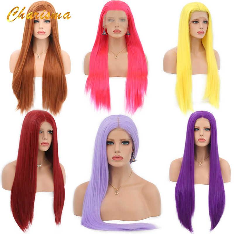 Peluca de Cosplay de carisma rubia larga, peluca frontal de encaje sintético liso y sedoso para mujer, peluca rosa, pelucas negras/grises con minimechones