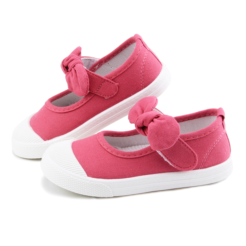 Baby Girl Shoes Canvas Casual Kids Shoes With Bowtie Bow-knot Solid Candy Color Girls Sneakers Children Soft Shoes 21-30