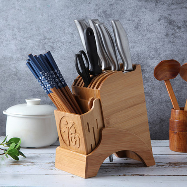 Kitchen Knife Storage Canvas Art Creative Stand Holder Wood Chef Rack Bamboo Block Chinese Style Tableware Cooking Tools