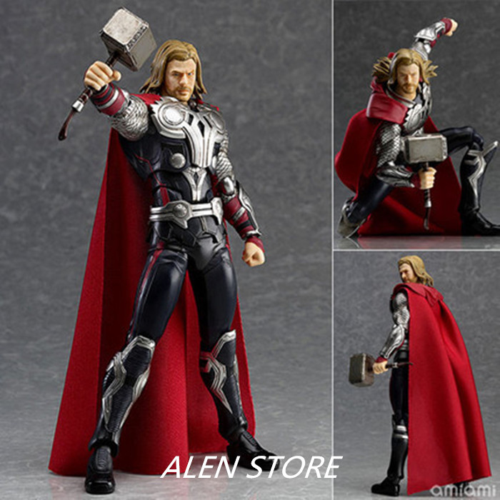 ALEN Anime Figma 216 The Avengers Thor Hero Doll Figurine PVC Action Figure Resin Collection Model Toy Gifts In Box hot toy 16cm avengers 2 thor loki villain heros action figure collectible pvc model toy movable joints doll for kids gifts