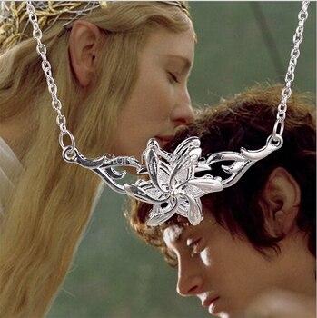 2014 Venta caliente nueva moda alta calidad El Hobbit Galadriel reina flor collar plata Hada flor collar 24 unids/lote