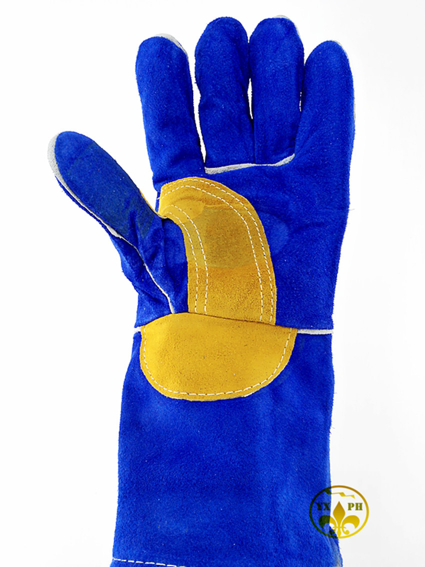 Leather palm work gloves wholesale - 2016 New Glovesap12 Welding Leather Color Blue Palm Work Gloves Anti Cutting Fire Wear Resistant Glovece