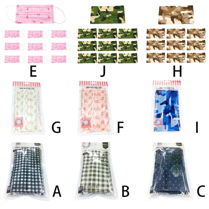 10Pcs/Set Unisex Anti Dust Disposable Face Mouth Mask Colored Floral Camouflage Plaid Printed Three Layer Spunlace Non-Woven