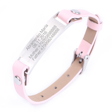 Personalized Women Leatherwear ID Bracelet Gift Lettering Name Bracelets Kids Jewelry Custom Engraved Wristband Stainless Steel personalized stainless steel black silicone men bracelet gift men s id bracelets for man male jewelry custom engraved name