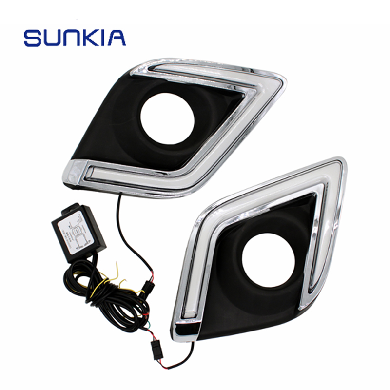 SUNKIA Waterproof LED Daytime Running Light DRL For Toyota Hilux Revo Vigo 2015 2016 2017 With Turning Signal Light Car Styling 2pcs set car styling new led drl waterproof daylight daytime running lights for toyota hilux revo vigo 2015 2016