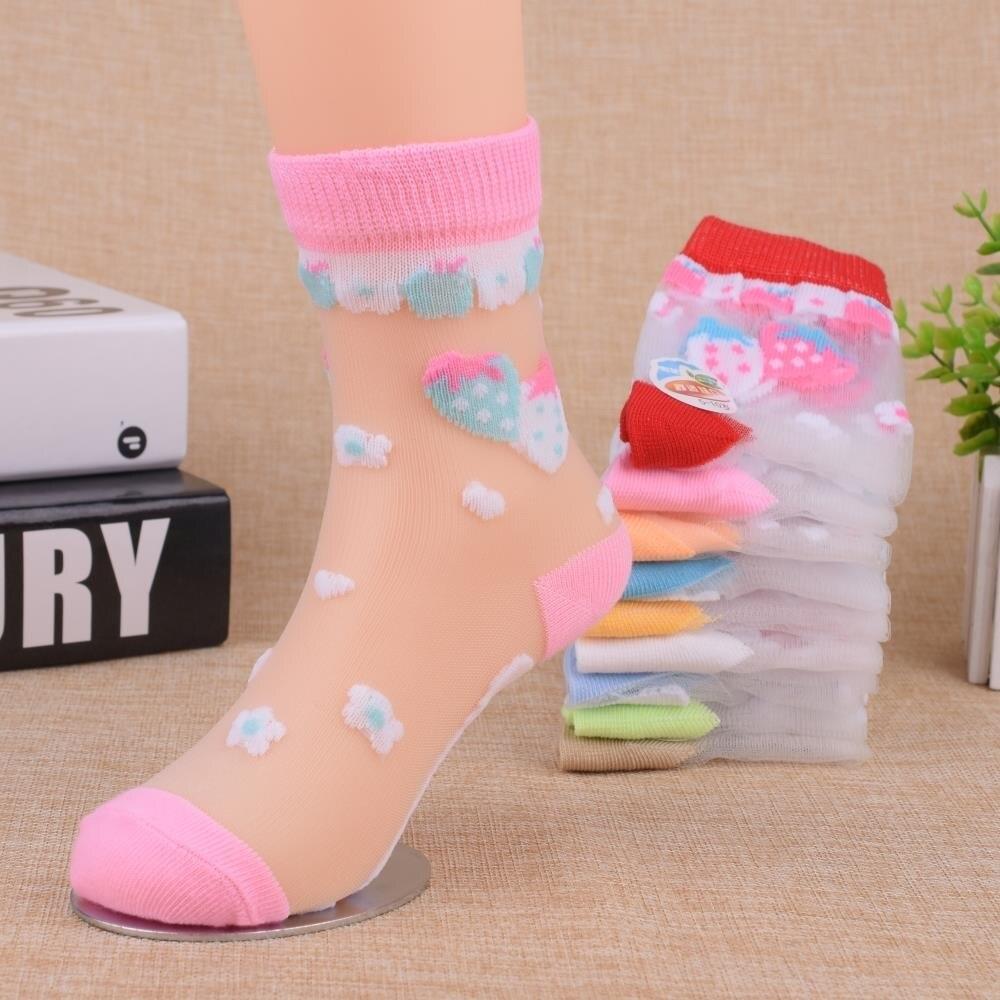 6 Pairs/Lot Summer Girls Socks Ultra-thin Breathable Style Crystal Baby Kids Socks Trendy Elastic Printed Silk Children Socks