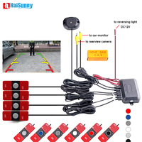 HaiSunny Car Video Parking Sensor Reverse Backup Radar Detector Assistance with 16mm Adjustable Flat Sensors Support Video Input