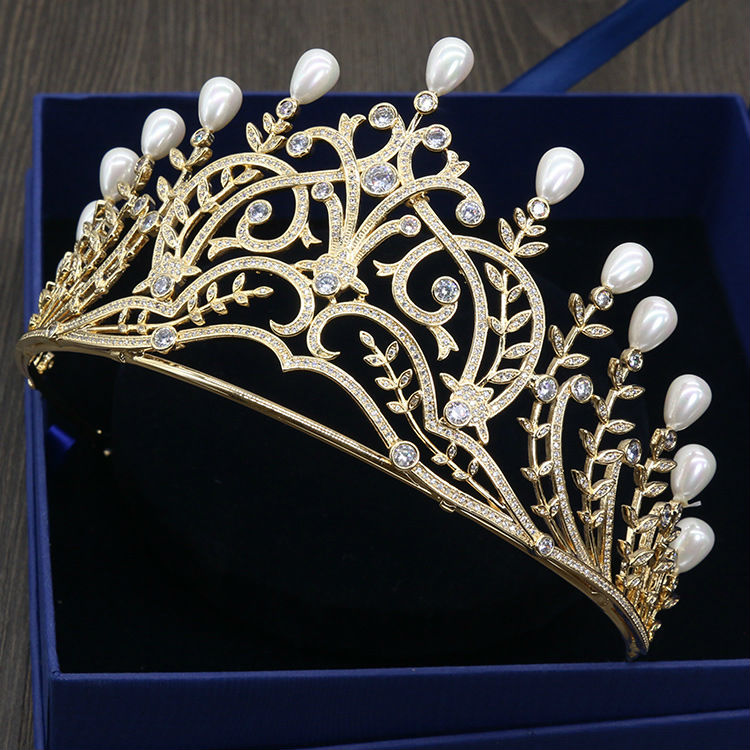 Fashion Big Top of Imitation pearls Crystal A Jewelry Wedding Hair Tiara and Crown Wedding Hair Accessories for Wome