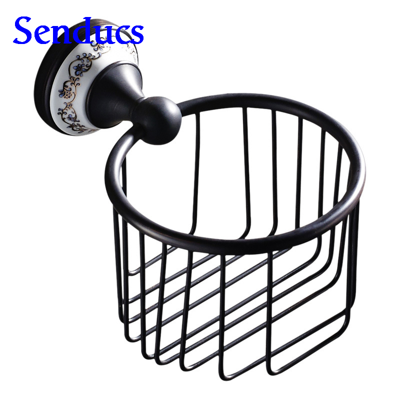 Free shipping Newly product ceramic black paper holder with solid brass toilet paper holder from Senducs bathroom accessories heavy bullet head bobbin holder with ceramic tube tip protecting lines brass copper material