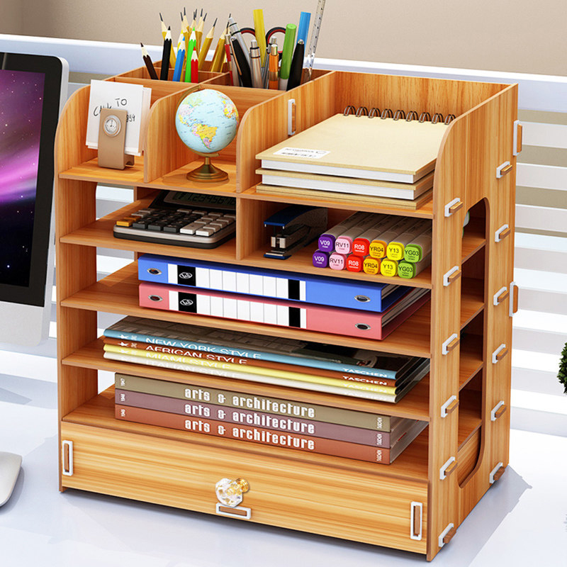 DIY Multi-layer Desktop Storage Box Documents Books Storage Shelf Simple Finishing Rack Desktop Book Shelf Office Supplies ...