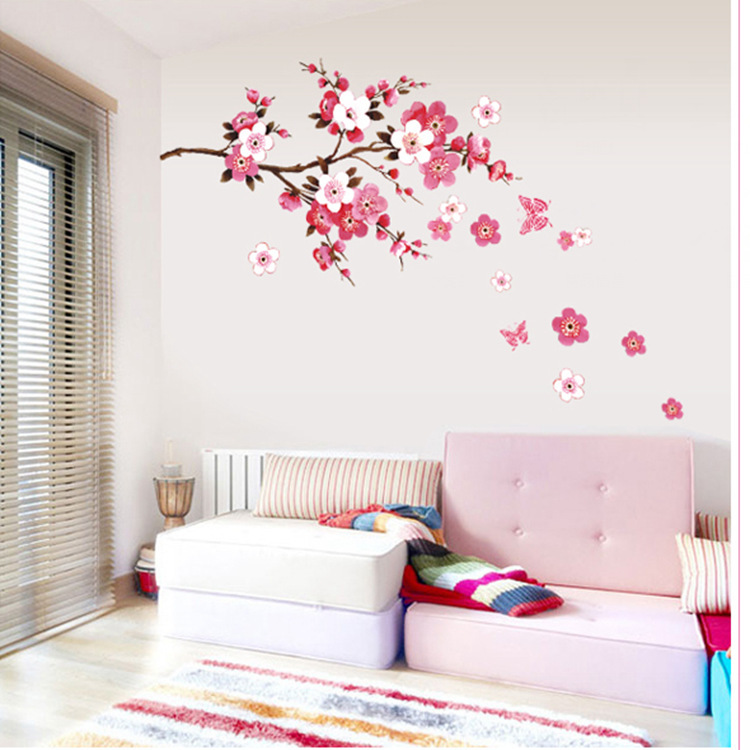 New Warm Sweet Pink Flowers Wall Sticker Home Decor Living ...