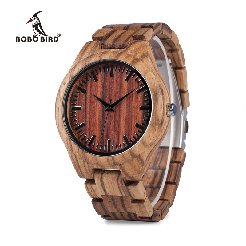 BOBO BIRD V-K27 Zebra Wooden Wristwatch Mens Brand Design Red Wooden Dial Quartz Watch Wood/Leather Strap Available in Gift Box