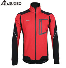 ARSUXEO Winter Warm Up Thermal Cycling Jackets Men Bicycle Clothing Windproof Waterproof Bicycle Jacket MTB Bike Jacket цена