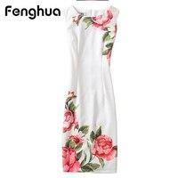 Fenghua Summer Dress For Women 2017 Sexy Slim Floral Vintage Ladies Office Dress Elegant Party Dresses