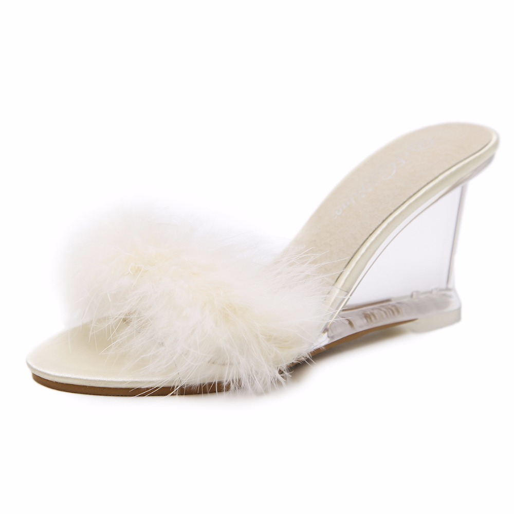 3 Color Female Slipper 35-40 Women Shoes Slides Ultra-high-heeled 8.5cm Feather Wedges Crystal Transparent Wedding Shoes 48