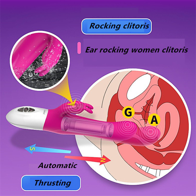 Leten Silicone Heating G spot Rabbit Vibrator 10 Speed Thrusting Automatic Sex Machine,Clitoris Massager Vibe Sex Toys for Woman