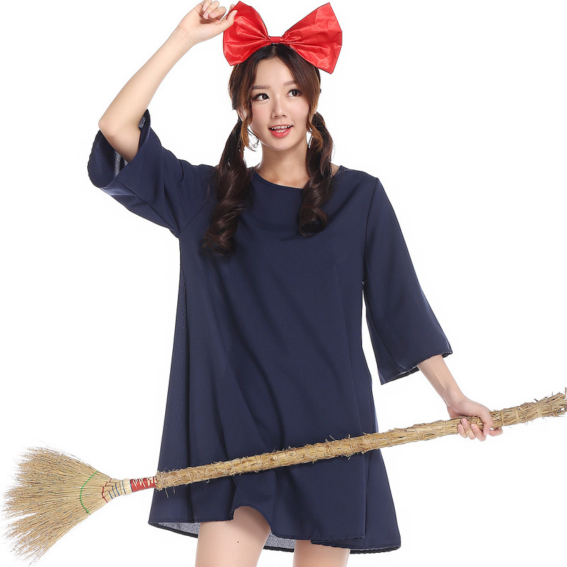 Halloween cosplay Kiki's delivery service for women costumes Dress + Headwear fanycy dress French Maid