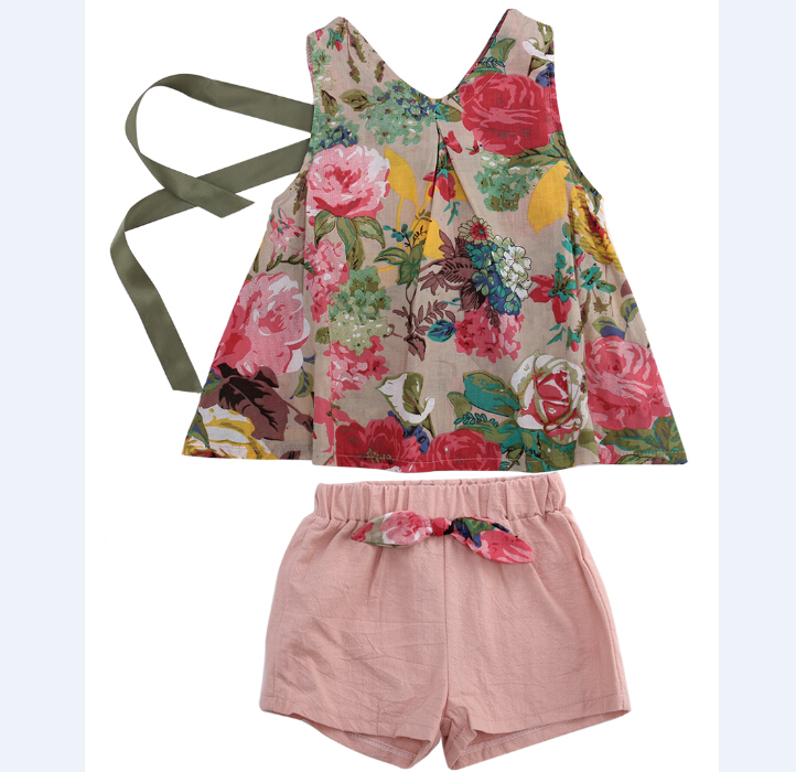 Baby Kids Girls Clothes Sets Tops Vest Bow Shorts Casual Vintage Princess Floral Outfits Set Girl Clothing 2-7Y 2pcs flower sleeveless vest t shirt tops vest shorts pants outfit girl clothes set 2pcs baby children girls kids clothing bow knot