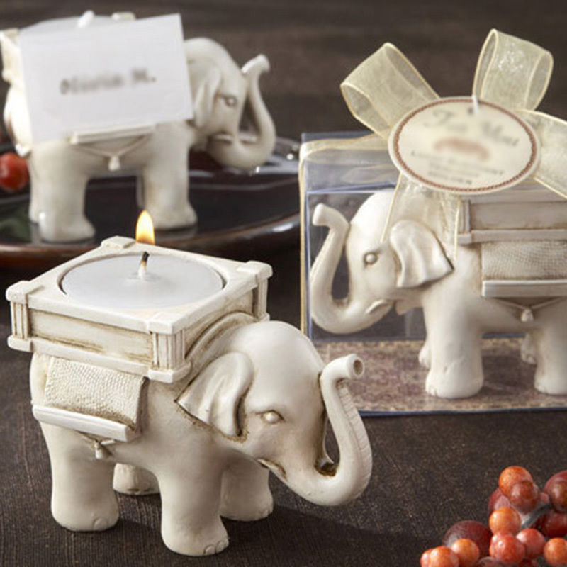 Hot Sale Fashionable Style Resin Ivory Lucky Elephant Tea Light Candle Holder Wedding Party Home Decoration